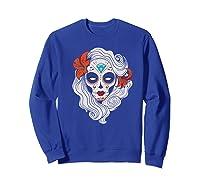 Sugar Skull Dia De Los Muertos Halloween Horror Premium T-shirt Sweatshirt Royal Blue