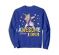Dabbing Unicorn Awesome Since 1983 36th Birthday Gift 36 Yrs Shirts Sweatshirt Royal Blue