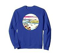 Vintage Famous Japanese Woodblock Art Tone River At Konodai Shirts Sweatshirt Royal Blue