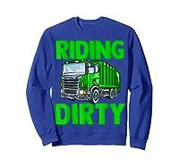 Recycling Trash Garbage Truck Riding Dirty Shirts Sweatshirt Royal Blue