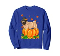 Thanksgiving Day Pug Dog Costume Pumpkin Gifts T-shirt Sweatshirt Royal Blue
