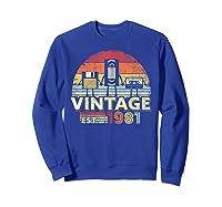 1981 Shirt. Vintage Birthday Gift, Funny Music, Tech Humor T-shirt Sweatshirt Royal Blue