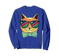 Namibia Flag Namibia Cat Sunglasses Shirt Sweatshirt Royal Blue