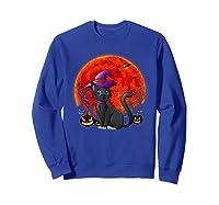 Vintage Scary Halloween Black Cat Costume Witch Hat & Moon T-shirt Sweatshirt Royal Blue