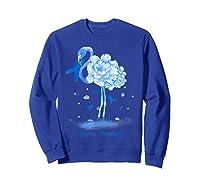 Awareness Flamingo Bule Ribbon Shirts Sweatshirt Royal Blue