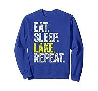 Eat Sleep Lake Repeat Summer Boating Vacation Boat Premium T-shirt Sweatshirt Royal Blue
