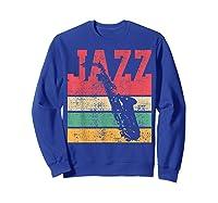 Saxophone Baritone Jazz Music Retro Vintage Gift T-shirt Sweatshirt Royal Blue