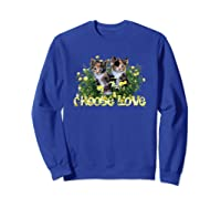 Calico Cats In The Roses By Bonnie Vent Shirts Sweatshirt Royal Blue