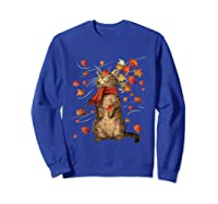 Cat Leaf Fall Hello Autumn Weather Shirts Sweatshirt Royal Blue
