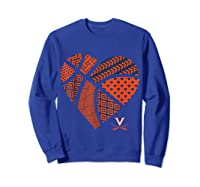 Virginia Cavaliers Patterned Heart Apparel Shirts Sweatshirt Royal Blue