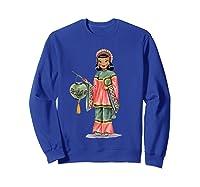 Vintage Traditional National Chinese Costume Doll Shirts Sweatshirt Royal Blue