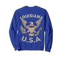 Louisiana Usa Patrio Eagle Vintage Distressed Shirts Sweatshirt Royal Blue