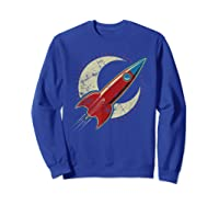 Retro Red Rocket T-shirt Sweatshirt Royal Blue