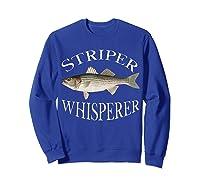 Striper Whisperer Striped Bass Fish Illustration Fishing T-shirt Sweatshirt Royal Blue