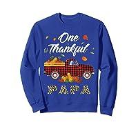 One Thankful Papa Truck Thanksgiving Day Family Matching T-shirt Sweatshirt Royal Blue