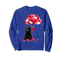 Black Labrador Love Balloons Valentine Day Shirts Sweatshirt Royal Blue