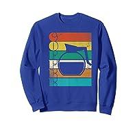 Coffee 70\\\'s Retro Style Distressed Stripes Premium T-shirt Sweatshirt Royal Blue