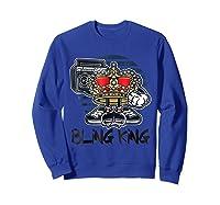Hip Hop Bling King Shirts Sweatshirt Royal Blue