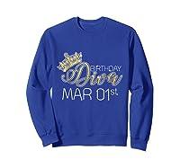 Birthday Diva On March 1st Pisces Pride Shirts Sweatshirt Royal Blue