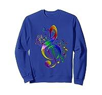 Treble Clef With Music Notes Shirts Sweatshirt Royal Blue