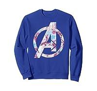 Avengers Logo Floral Super Hero Shirts Sweatshirt Royal Blue