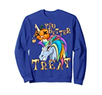 Unicorn Pumpkin Shirts Sweatshirt Royal Blue