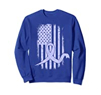 American Flag Stomach Cancer Awareness Ribbon T-shirt Sweatshirt Royal Blue