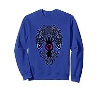 Bodhi Tree With Japanese Symbol Yoga Shirts Sweatshirt Royal Blue