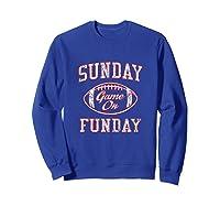 Vintage Sunday Funday T Shirt New England Football Retro Tee Sweatshirt Royal Blue