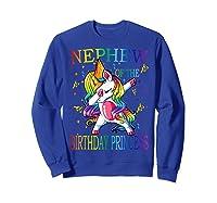 Nephew Of The Birthday Princess Unicorn Girl T-shirt T-shirt Sweatshirt Royal Blue