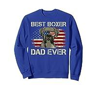Best Boxer Dad Ever Dog Lover American Flag Gift Shirts Sweatshirt Royal Blue