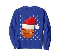 Christmas Stars Basketball Ball Santa Hat Funny Sports Xmas T-shirt Sweatshirt Royal Blue