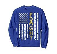 Childhood Cancer Awareness T-shirt American Flag Distresse T-shirt Sweatshirt Royal Blue