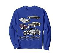Classic American Muscle Cars Vintage Gift Shirts Sweatshirt Royal Blue