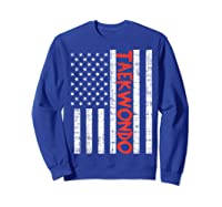 Us Flag Taekwondo Vintage Patriotic Martial Arts Lover Gift T-shirt Sweatshirt Royal Blue