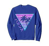 90's Retro Palm Japanese Otaku Grunge Aesthetic Vaporwave Shirts Sweatshirt Royal Blue