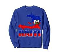 Vintage Haitian Flag I Love Haiti Shirts Sweatshirt Royal Blue