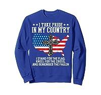 Take Pride N My Country Usa Flag 4th July Patriotic Shirts Sweatshirt Royal Blue