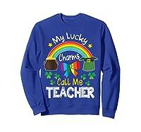Rainbow Shamrock My Lucky Charms Call Me Tea Shirts Sweatshirt Royal Blue