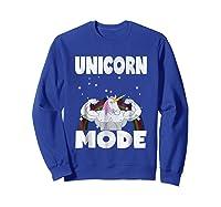 Unicorn Mode Rainbow Stars Hustle Muscle Work Party Shirts Sweatshirt Royal Blue