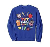 1st Grade Diva Girls First Day Of School Shirts Sweatshirt Royal Blue