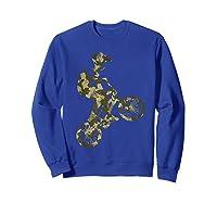 Racing Extreme Sports Bike Rider Camouflage Design Shirts Sweatshirt Royal Blue