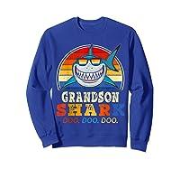 Vintage Grandson Shark T-shirt Birthday Gifts For Family Sweatshirt Royal Blue