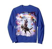 Laser Eyes Space Cat On Dinosaur - Rainbow T-shirt Sweatshirt Royal Blue