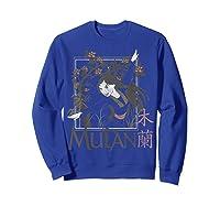 Disney Mulan Floral Square Portrait T-shirt Sweatshirt Royal Blue
