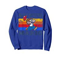 Super Mario Losing Hat Stripes Shirts Sweatshirt Royal Blue