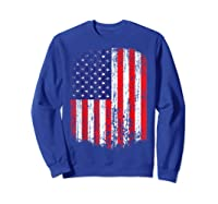 Distressed American Flag, Patriotic Shirts Sweatshirt Royal Blue