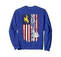 Wing Cow Veteran Veteran Flag Apparel Shirts Sweatshirt Royal Blue