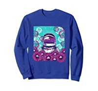 Astronaut Flowers Daisy Bubble Ocean Shirts Sweatshirt Royal Blue