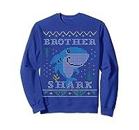 Brother Shark Ugly Christmas Sweater Design Nephew Shirts Sweatshirt Royal Blue